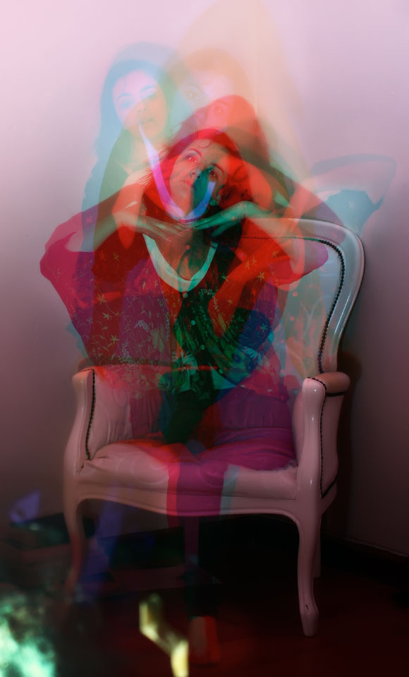 Girl sitting on couch | light painting | filters | photographic gels | multiple exposure